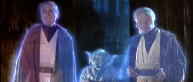 """You're a deadbeat dad, you perpetrated a genocide, and you cut me in half. Still, I can't stay mad at you. C'mere you!"" -- Anakin, Yoda, and Obi-Wan in Return of the Jedi. Photo Credit: http://forums.realgm.com/boards/viewtopic.php?f=19&t=1328572"